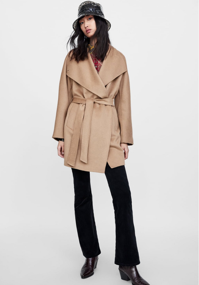 A Zara wrap coat included in the best buy coats guide for A/W18
