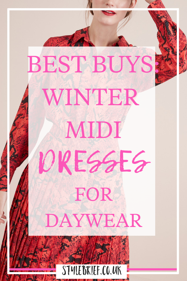 Looking for a winter midi dress perfect to take you into spring - check out this little curated collection of the best midi dresses around in the UK right now. #mididress #winterdress #animalprintdress #redanimaldress #stylebrief