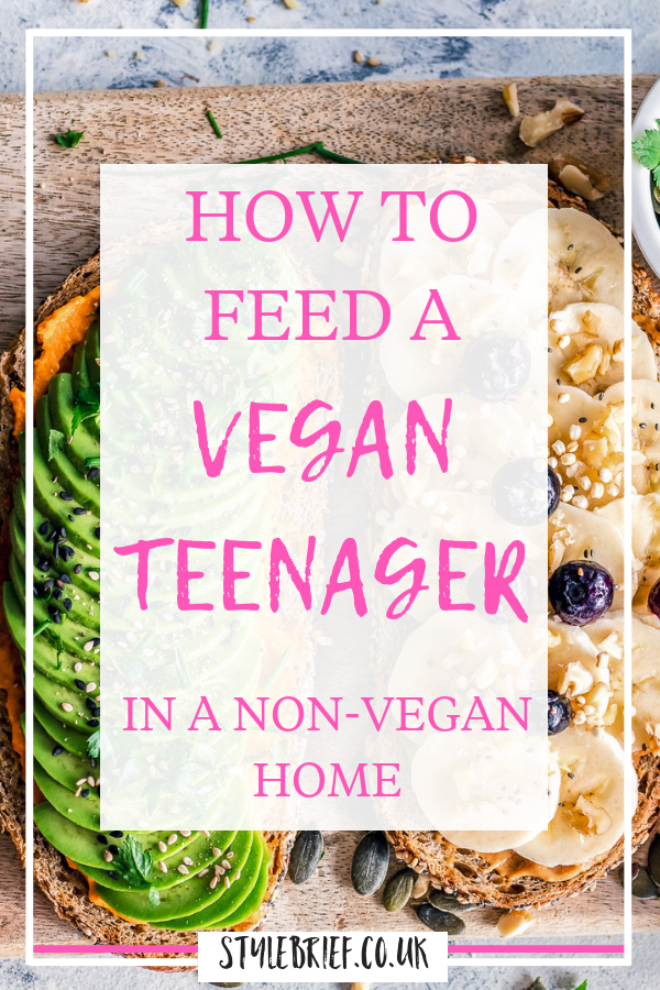 After a year of living with a vegan teenager in a non-vegan home this is our experience of learning how to feed her. Focusing on healthy veganism, nutrition and a varied diet we found a balance. Find out how we did it in this comprehensive blog post #stylebrief #veganteen #veganism #veganteenager #veganteenfood
